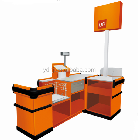 Supermarket Hanging Plastic Bags Cash Counter Desk With Sign