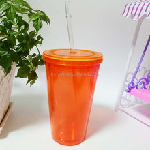 16OZ popular hot selling plastic double wall cup with straw and lid tea juice drinking cup tumbler with straw and lid