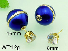 Colorful Women Double Pearl Earrings Cheap Statement Stud Earring, Charming Double Artificial Bead Earring Ear Stud