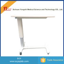 Cheap Adjustable Moving hospital Over bed tray table with wheels