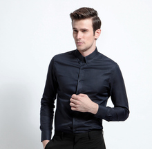 black color stand collar mens fitted italian dress shirts