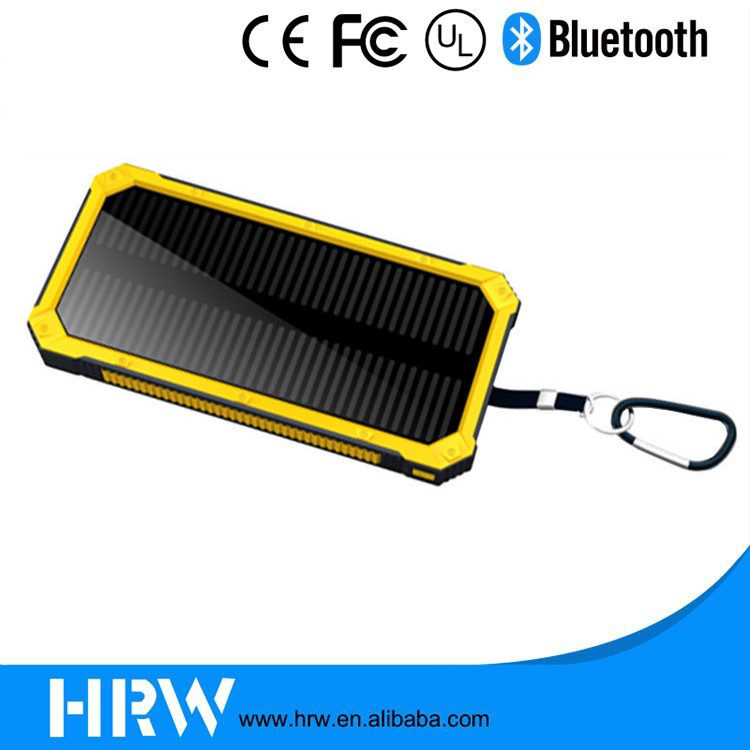 2016 outdoor Colorful Water/dirt/shock proof dual usb Portable Solar Power Bank with LED light