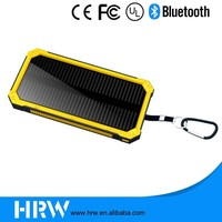 2016 outdoor Colorful Water/dirt/shock proof dual usb Portable Solar Power Bank with LED light e