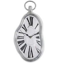 drop-shipping Roman Numeral Retro Timepiece Melting Distorted Wall Clock(Silver)
