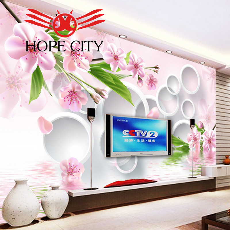 Hot sales high quality building materials 3d wall tile Plum reflection 3D TV backdrop