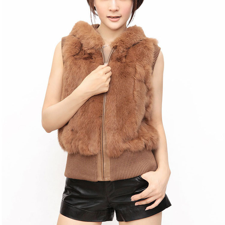 Hot 100% Real Genuine Rabbit Fur Vest Waistcoat With Zip Short Fur Coat Fashion Women's Hot Selling Design Free Shipping CW2223