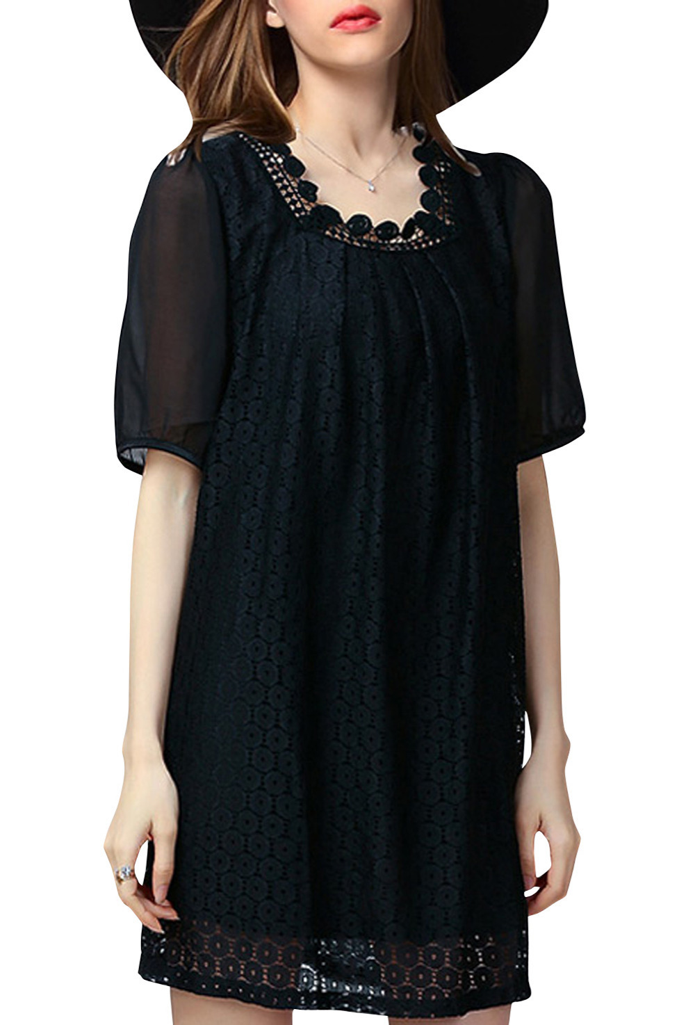 Summer Style 2015 Print Women Summer Dress Casual Lace Round Neck Sheer Sleeve Dress  Women Vestidos Femininos Plus Size Dresses