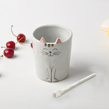 Wholesale Cute Breakfast Cat Porcelain Coffee Mug Ceramic <strong>Cups</strong>