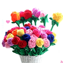 Fashion Valentine Gift Soft Rose Stuffed Bouquets plush Toy Rose Bouquets
