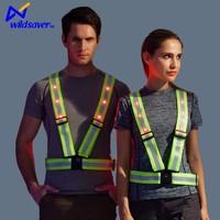 high viz range green reflective safety officer vest with led flashing light