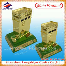 2014 custom castle trophy metal desktop pen holder and paper weight