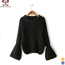 New Style Fashion Autumn Black and Gray Pullover Pagoda Sleeve Knit Sweater Women 2016