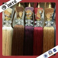 color custom made wooden and printing tassel tieback for curtain