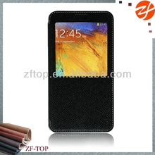 Hot products leather case for Samsung galaxy note 3 window view smart case