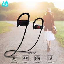 2017 Hotsale on Amazon best sound Noise Cancelling IPX7 waterproof V4.1 CSR OEM bluetooth wireless headset with microphone RU9