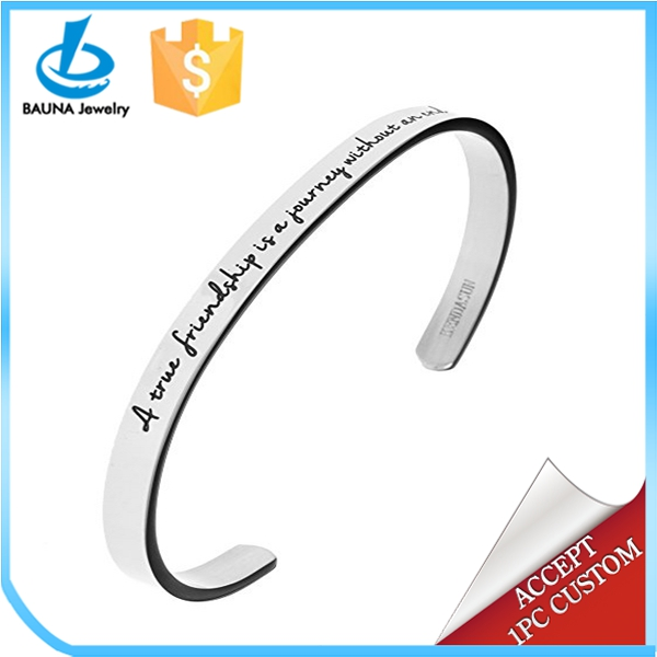 "2017 Bauna A true friendship is a journey without an end."" Premium Stainless Steel Cuff Bangle Bracelet"