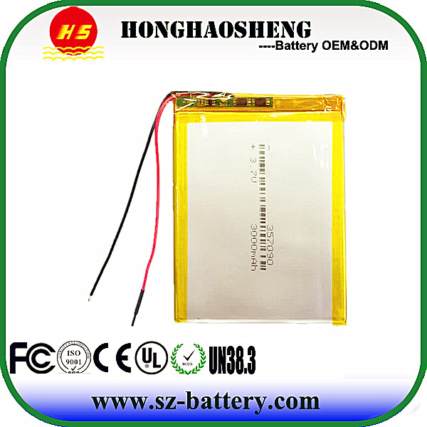 Chinese manufacture rechargeable polymer 357090 tablet battery 3.7v lithium 3000mah