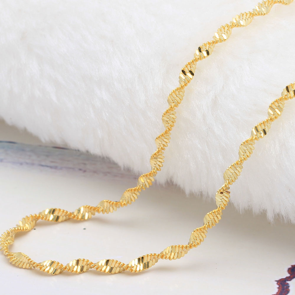 16-30inch 18k real gold plated chain necklace for women double water wave chain