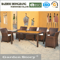 66-33 Contracted and contemporary rectangular dining table and 6 rattan chair garden outdoor furniture