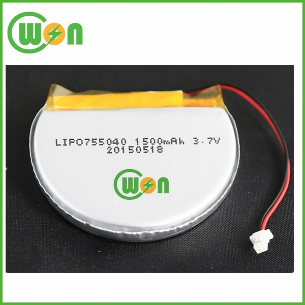 Round Lithium Polymer Battery 3.7V 1500mAh Special Shape Polymer Battery 755040 Li Polymer Rechargeable Battery