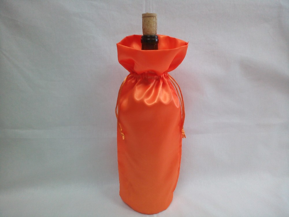 high quality luxury drawstring wine satin pouch