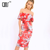 Best sell women clothing off the shoulder floral bodycon midi dresses