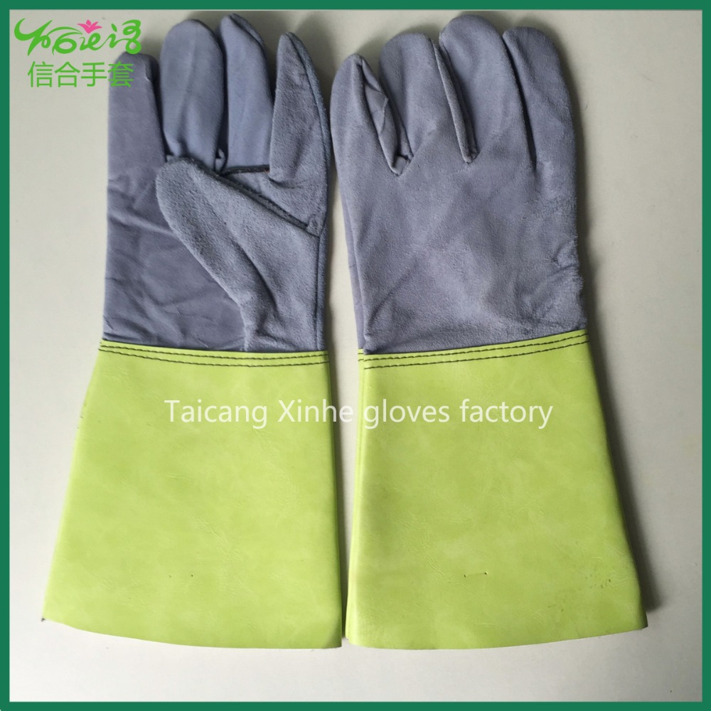 Cow split leather welding gloves safety working industrial cowhide welding gloves leather gloves for worker with leather cuff