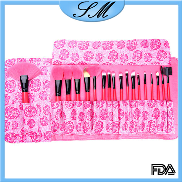New Fashion Makeup Brush Sets 18 piece With Red Rose Flower Printing Makeup Bag