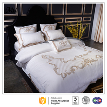 Wholesale White Hotel Bed Linen Set Custom Embroidery 100% Cotton Hotel Bedding Set