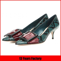 beautiful big toe part buckle snake leather custom low heel women italian shoes