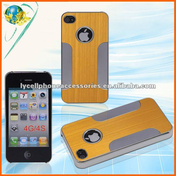 Premium Chrome Aluminum Skin For Apple Iphone 4G 4S Accessory Gold Mobile Phone Metal Case