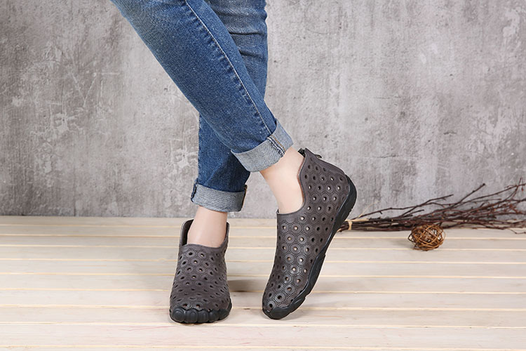 handmade cool genuine leather elegant fret work shoes flat ankle boots summer women shoes