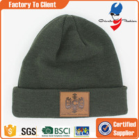 Wholesale Custom Winter Mens Beanies Knitted Hat With Leather Patch Label