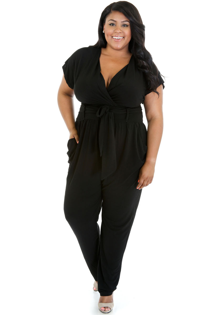 952e56fee7f0 Buy Blue Black Deep V Neck Romper Women Plus Size Jumpsuit Summer Casual  Loose Harem Romper Overalls Loose Pants Belted Jumpsuits in Cheap Price on  Alibaba. ...