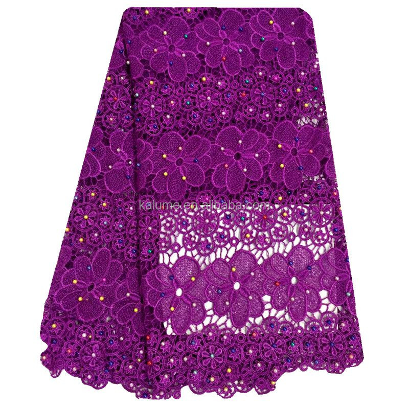 Purple African Cord Lace Fabric With Plenty Pearls High Quality Fabric Guipure African Lace For Sewing FH0629-2