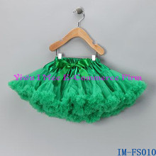 Boutique Baby Clothes Wholesale Super Cute Toddler Girls Green Chiffon Fluffy Ruffle Pettiskirt IM-FS010