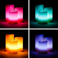 Battery Operated Flameless Real Wax Led Candles With Remote Control 12 Color Options (Set of 3 Candles)