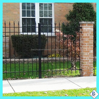 3 rails galvanized dupont wrought iron fencing with spears for factory price