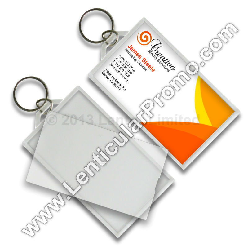 Acrylic Key Chain Snap-in Business Card 2 x 3.5 inches Clear Custom Promotional Gift Travel