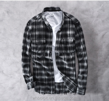 Custom made label Mens soft cotton checked BLACK WHITE shirt long sleeves pockets shirt