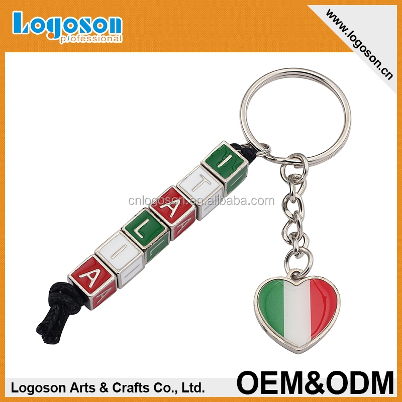 2015 Italia promotional gifts custom souvenirs alphabet letter keychain countries metal keychains