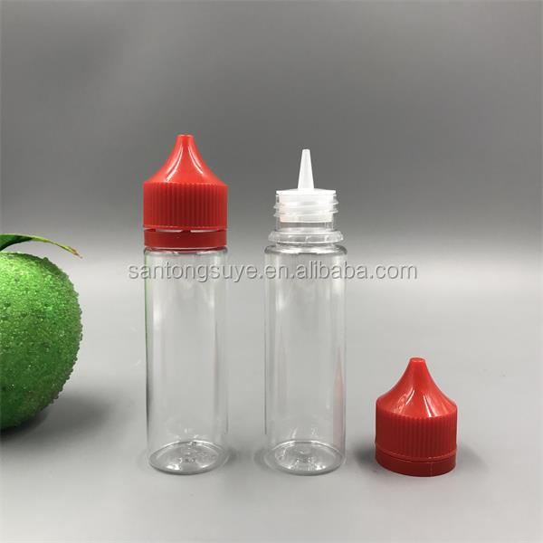 Clear squeezed PET unicorn bottle 50ml 60ml 70ml 100ml 120ml with dropper tips