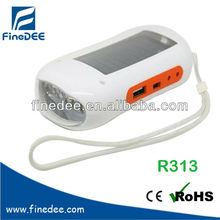 R313 Recharge Cellphone FM scan radio solar rechargeable flash light