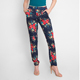 New hot-selling designs women custom casual Elastic Waist navy flower pattern printed Pocket Side pants