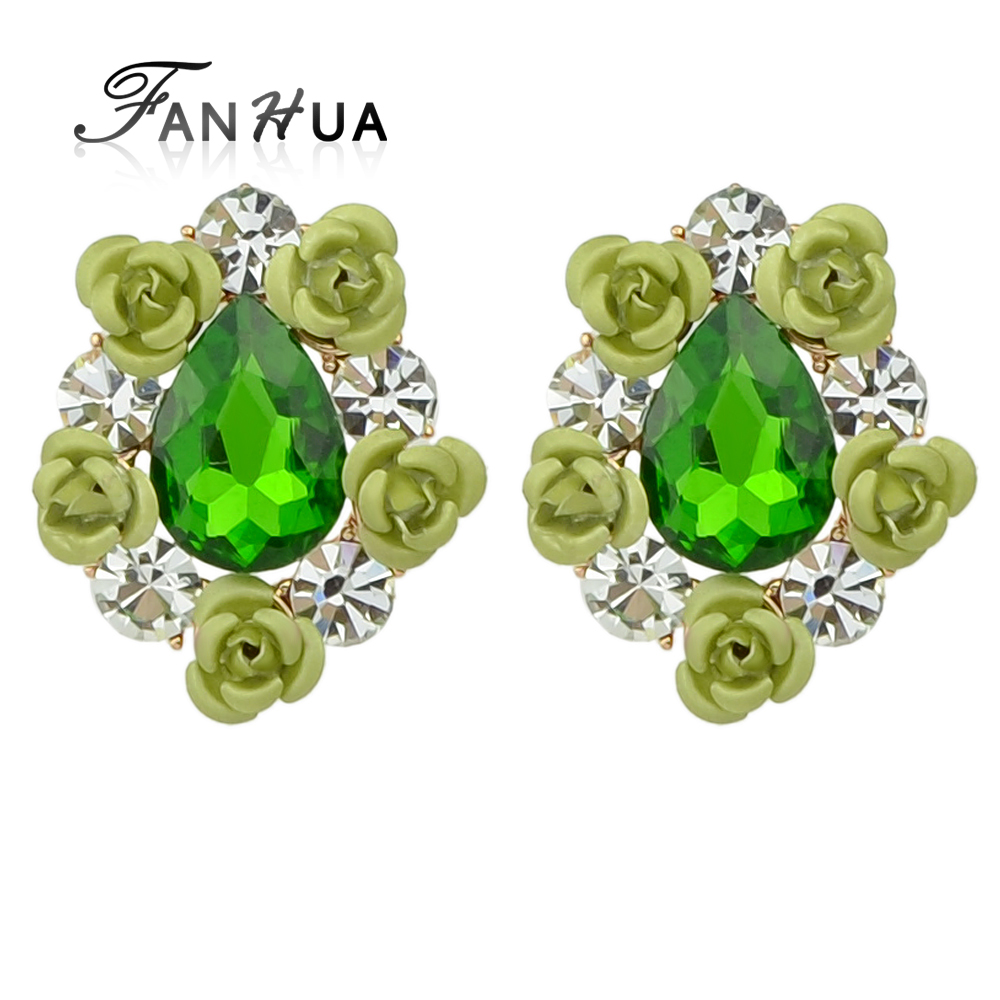 Latest design Korean style rhinestone flower stud fashion earrings