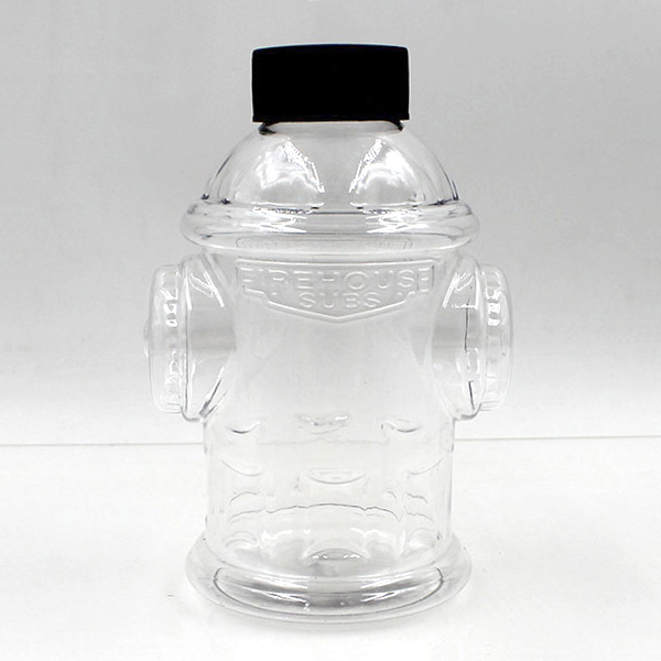 Custom new product creative PET 300 ml fire hydrant shape cartoon plastic bottle for beverage