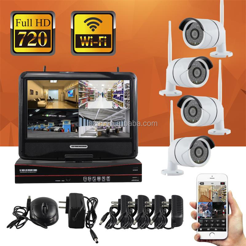 Home System Security Wifi Cctv Camera System Kit 4ch 720p Wireless Nvr Kits