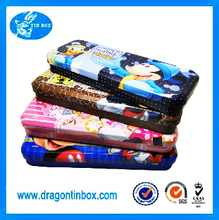 Factory direct rectangular metal custom stationery cool box / kids cartoon case / tin pencil cases with compartments