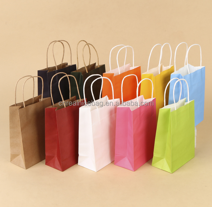 High Quality Colorful Handled Kraft Paper Shopping Bags for Clothes, Food and Gifts Packaging with Cheap Factory Price