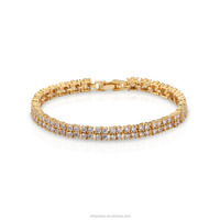 High quality anti-allergy clasp lock 18k gold plated copper chain bracelet with cubic zircon, bracelet for anniversary